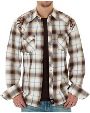 Wrangler Men's Rock 47 Plaid Long Sleeve Shirt, White, hi-res
