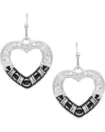 Montana Silversmiths Women's Dazzling Barbed Wire Heart Earrings , , hi-res