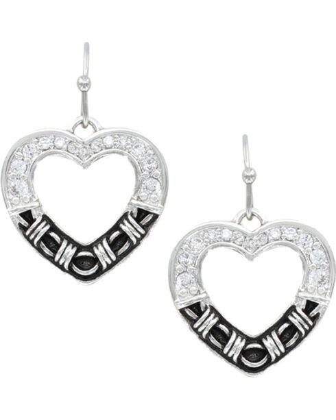 Montana Silversmiths Women's Dazzling Barbed Wire Heart Earrings , Silver, hi-res