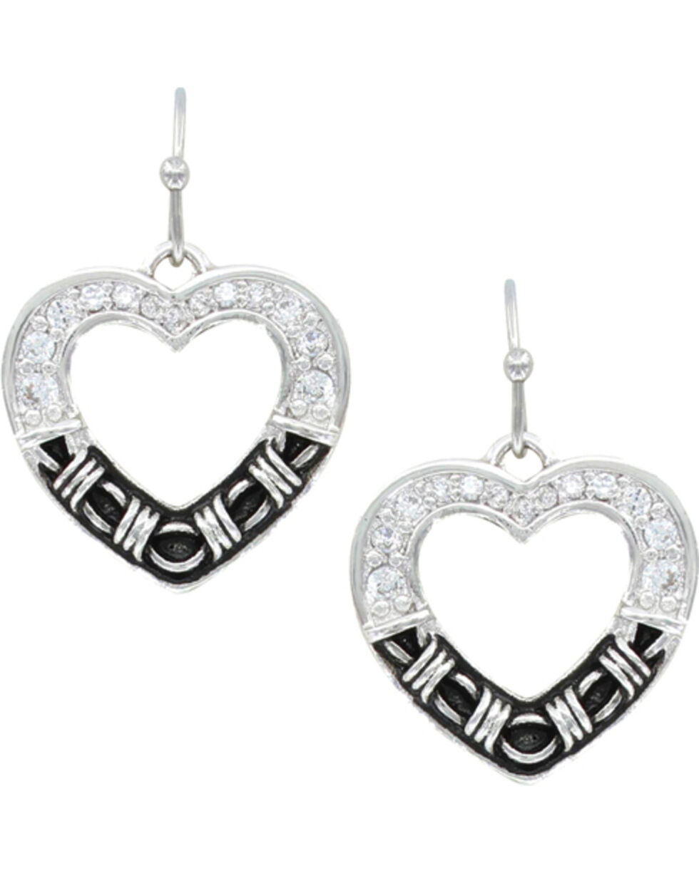 Montana Silversmiths Women's Dazzling Barbed Wire Heart Earrings , Silver, hi-res