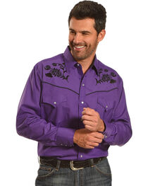 Ely Cattleman Men's Floral Embroidered Western Snap Shirt, , hi-res
