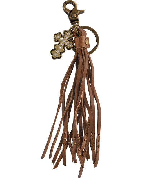 BB Ranch Rhinestone Cross Charm Tassel Keychain, Brown, hi-res