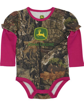 John Deere Infant Girls' Camo Trademark Onesie , Camouflage, hi-res