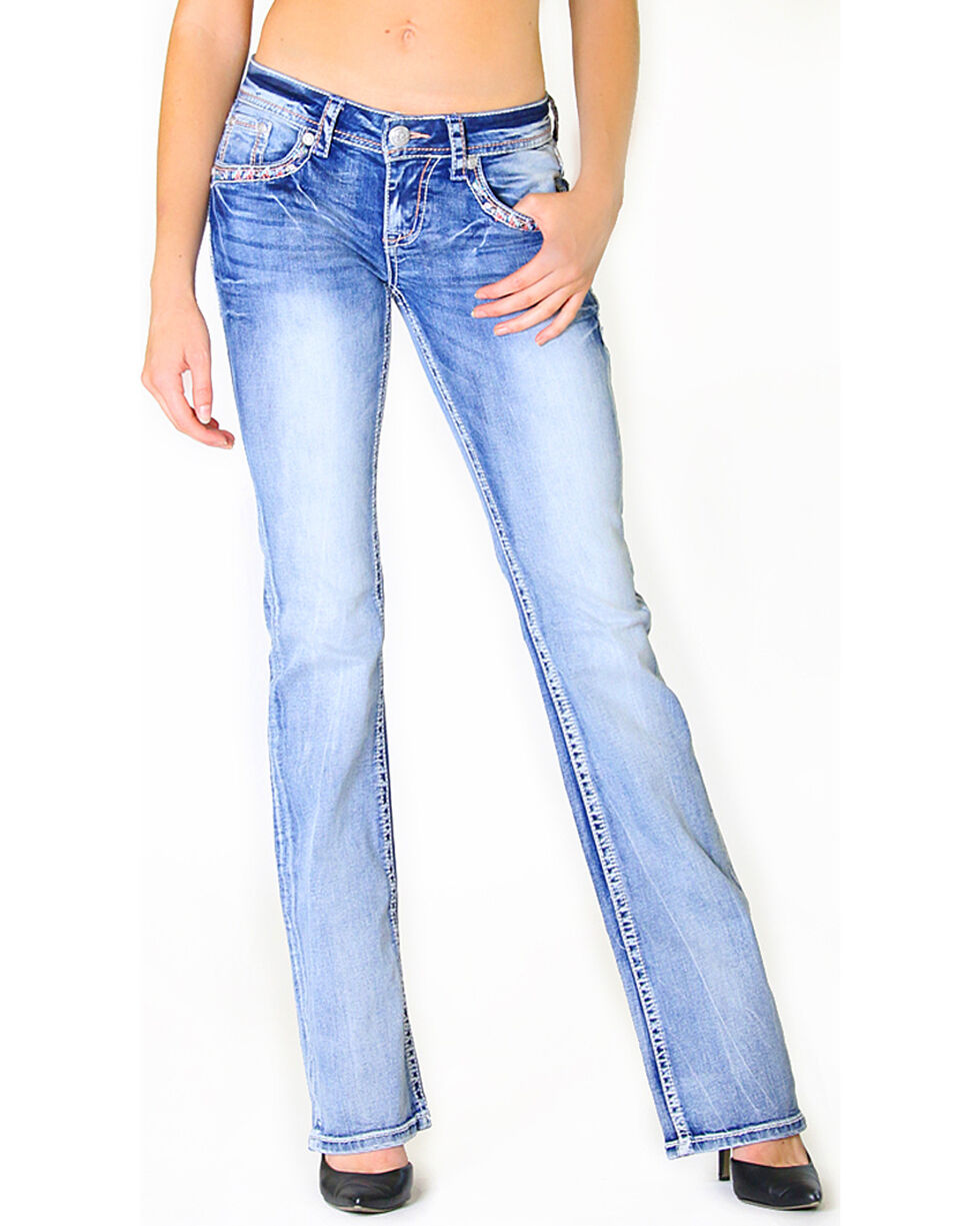 Grace in LA Women's Embroidered Flap Pocket Light Wash Jeans - Boot Cut, , hi-res