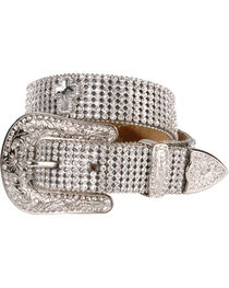 Nocona Belt Co Girl's Rhinestone and Cross Belt, , hi-res