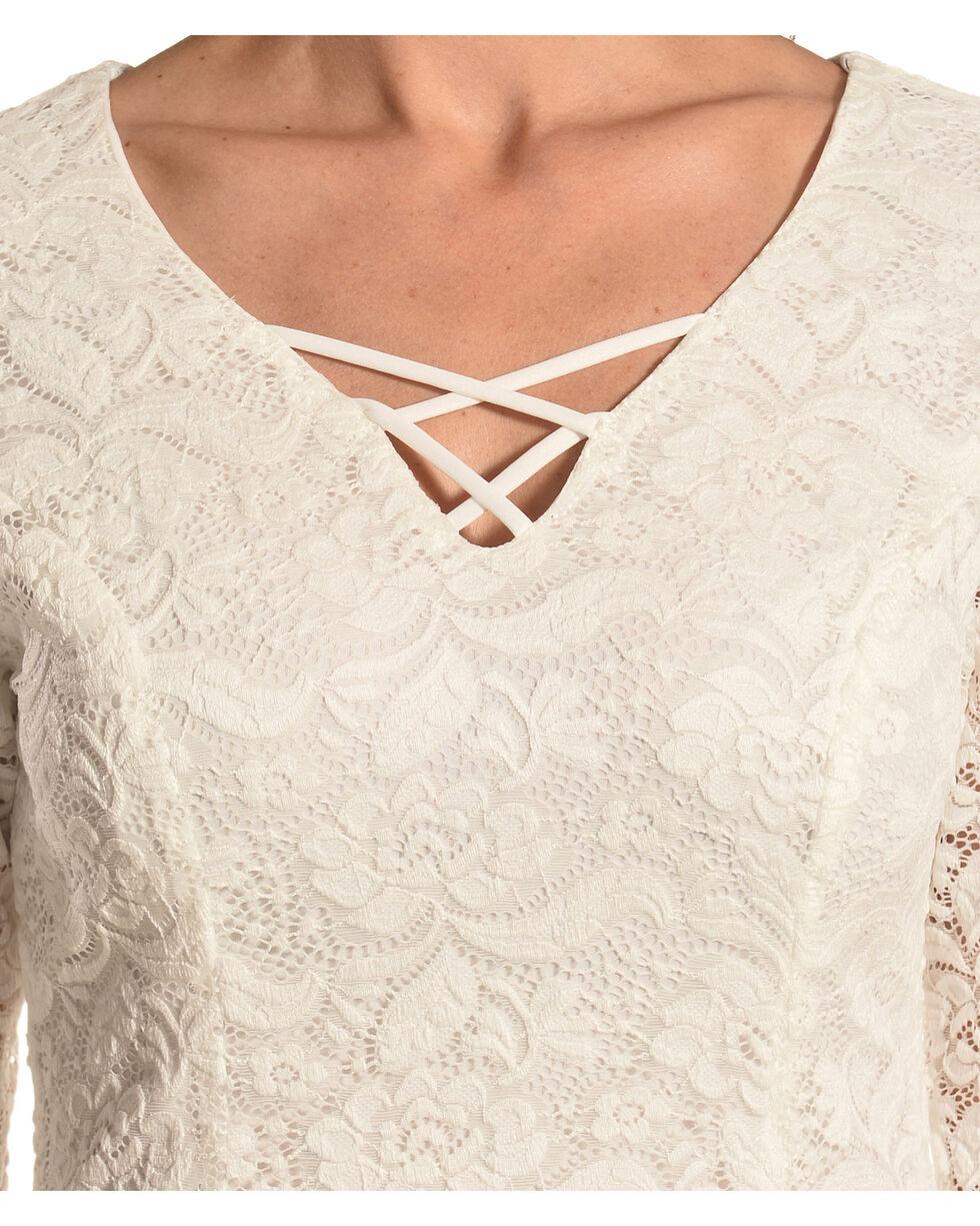Jody of California Women's Criss Cross Neck White Lace Dress, White, hi-res