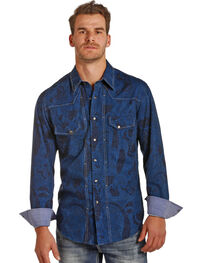 Rock & Roll Cowboy Men's Blue Paisley Print Shirt , , hi-res