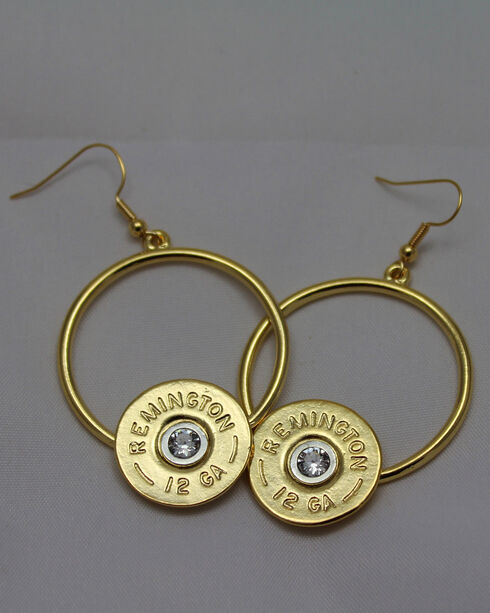 SouthLife Supply Women's Florence Circle Dangle Shotshell Earring in Traditional Gold with Crystal, Gold, hi-res