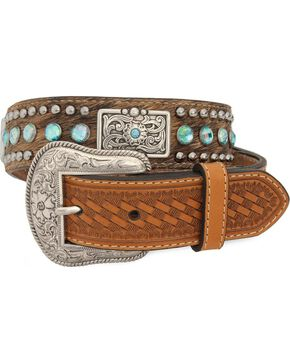 Nocona Kids' Hair-On-Hide Rhinestone & Concho Belt, Tan, hi-res