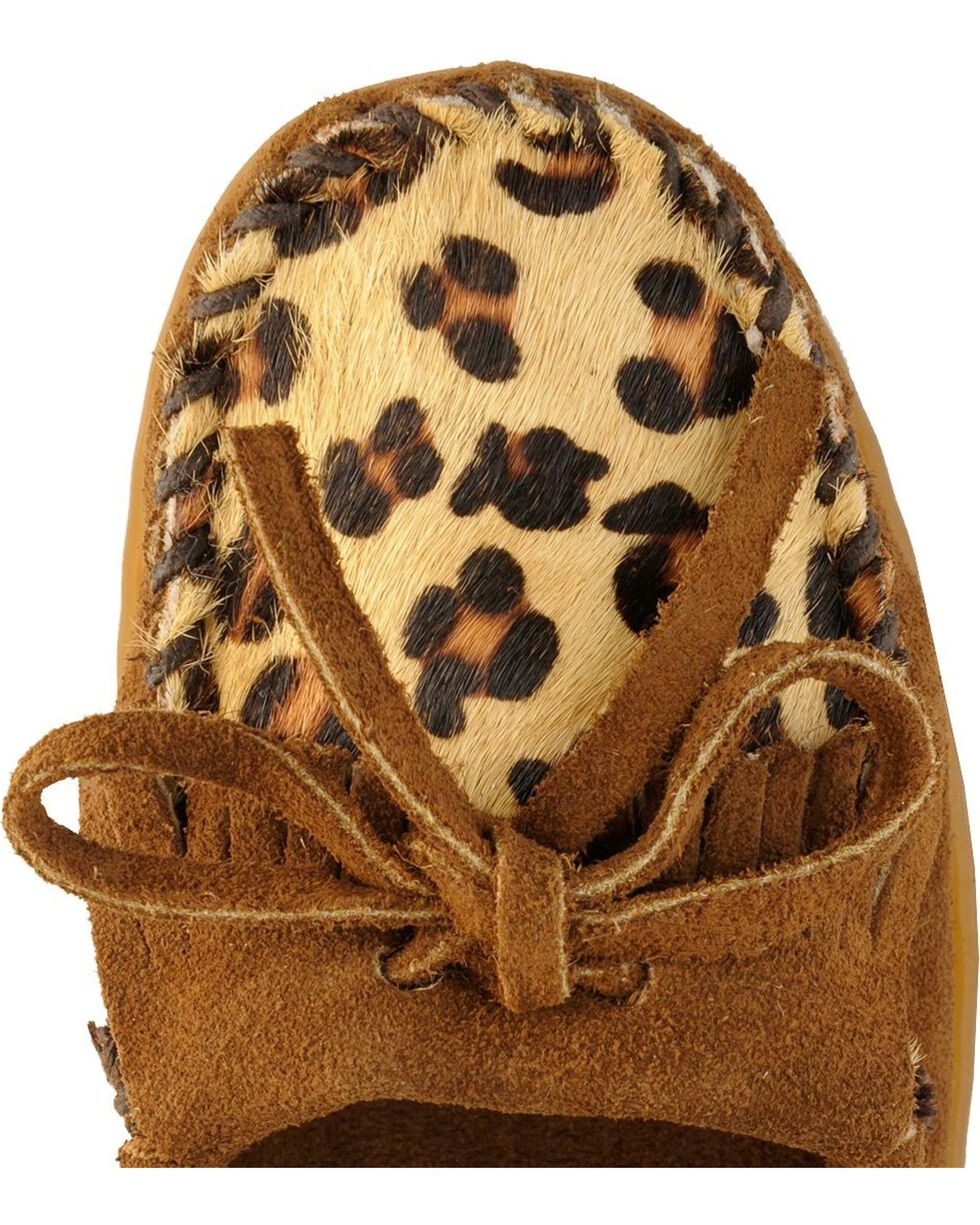 Women's Minnetonka Leopard Kilty Moccasins, Dusty Brn, hi-res