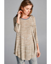 Hyku Women's Sand Peplum Sweater Knit Top , , hi-res