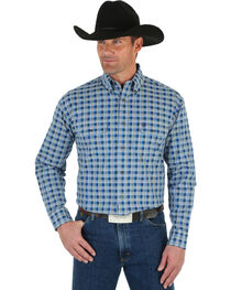Wrangler George Strait Men's Blue & White Plaid Shirt, , hi-res