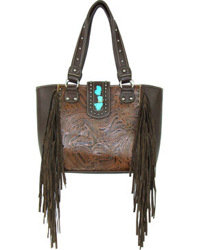 Savana Brown Conceal Carry Fringe Handbag, Brown, hi-res