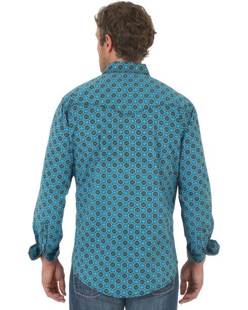 Wrangler Men's 20X Teal and Black Poplin Print Western Shirt , Teal, hi-res