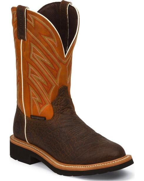 Justin Round Toe Waterproof Work Boots, Chestnut, hi-res