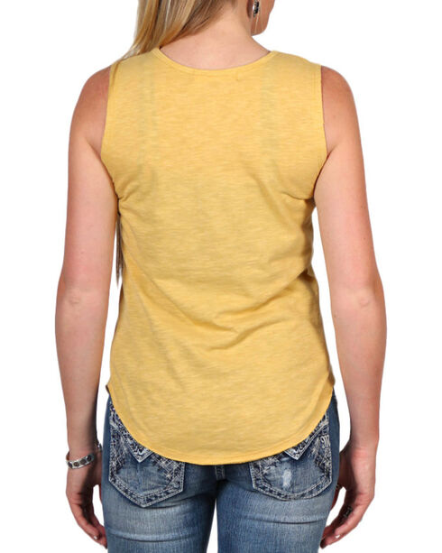 "Cut & Paste Women's ""Blessed"" Cutout Tank Top, Dark Yellow, hi-res"