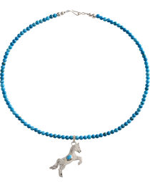 M & S Turquoise Women's Sterling Handmade Horse Charm Necklace, , hi-res