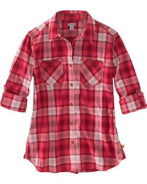 Carhartt Women's Plaid Long Sleeve Shirt, Pink, hi-res