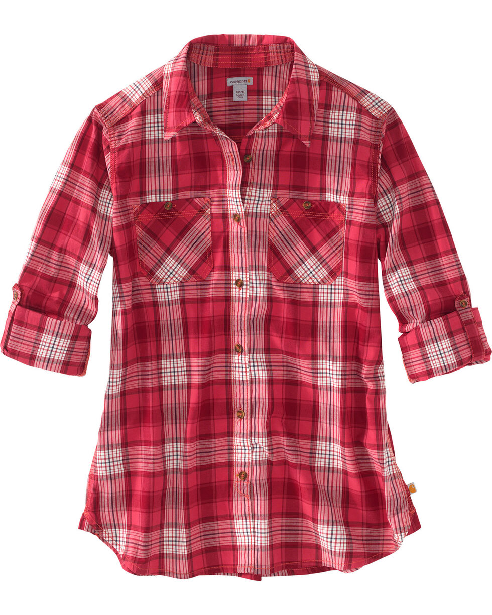 Carhartt Women's Plaid Long Sleeve Shirt, Pink, hi-res