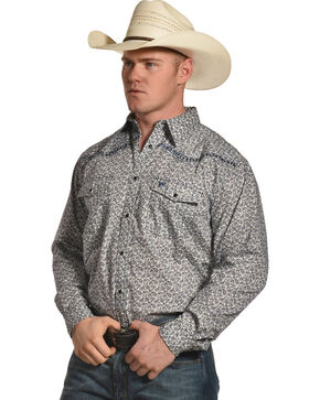 Cowboy Hardware Men's Paisley and Diamond Stitched Long Sleeve Shirt, , hi-res