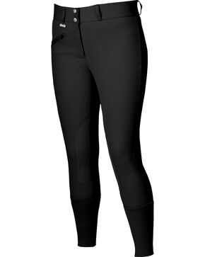 Dublin Everyday Signature Euro Seat Front Zip Breeches, Black, hi-res