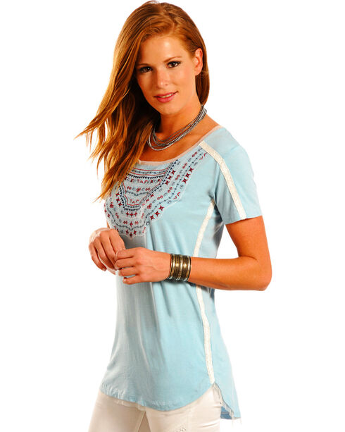 Panhandle Slim Women's Blue Embroidered Knit Tunic , Light/pastel Blue, hi-res