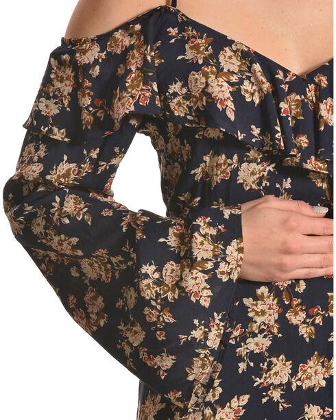 Lunik Women's Floral Cold Shoulder Wrap Dress, Navy, hi-res