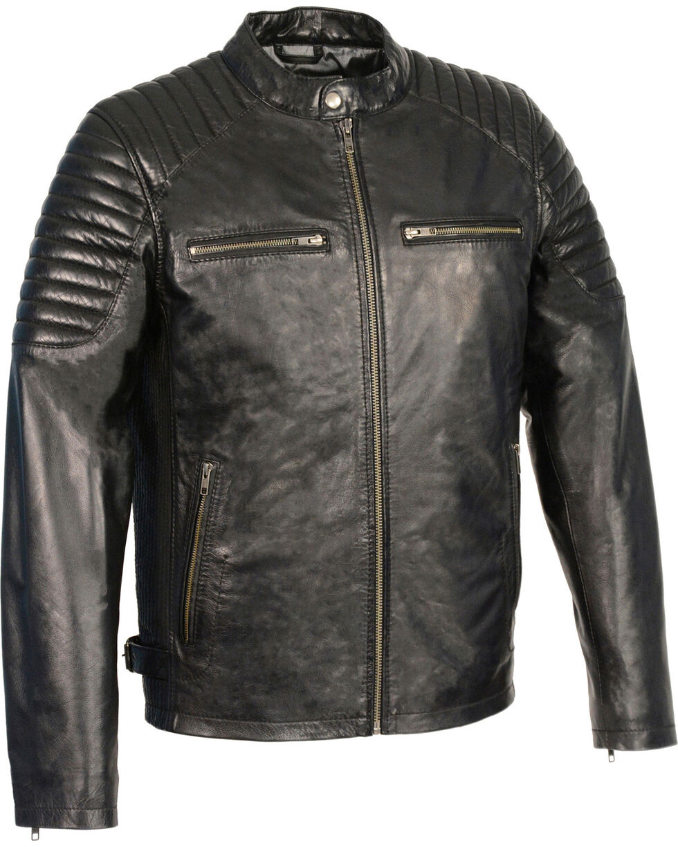 Milwaukee Leather Men's Quilted Shoulders Snap Collar Leather Jacket, Black, hi-res