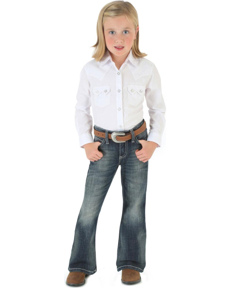Wrangler Girls' Dark Wash Boot Cut Jeans, Denim, hi-res