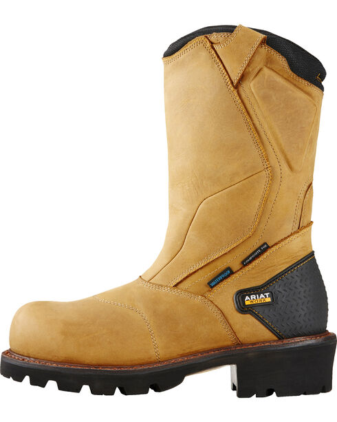 Ariat Men's Powerline Waterproof Comp Toe Work Boots, Bark, hi-res