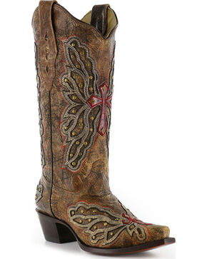Corral Women's Wing and Cross Inlay Western Boots, Bronze, hi-res