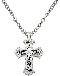 Montana Silversmiths Antiqued Scalloped Cross Necklace, , hi-res
