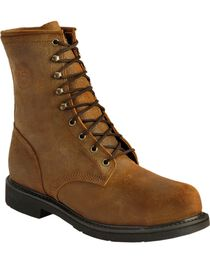 Justin American Tradition Lace-Up Work Boots - Steel Toe, , hi-res