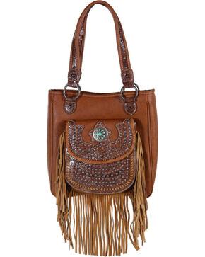 Shyanne® Women's Studded Fringe Shoulder Bag, Brown, hi-res