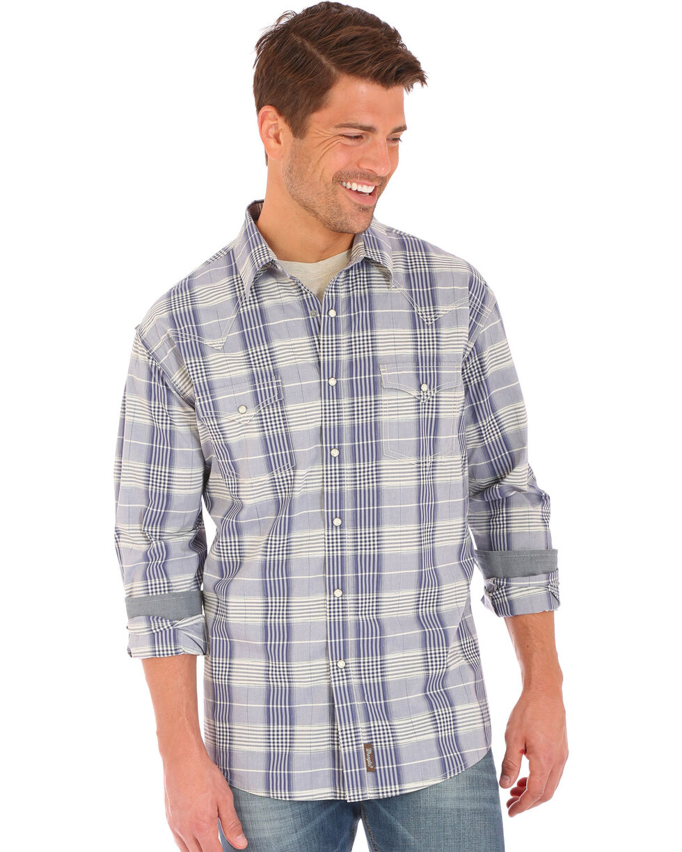 Wrangler Retro Men's Contrast Trim Long Sleeve Snap Shirt, Blue, hi-res