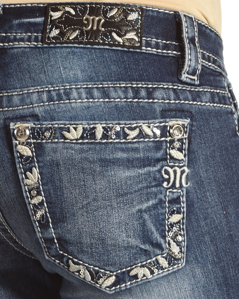 Miss Me Women's Blue Floral Border Pocket Jeans - Boot Cut , Blue, hi-res