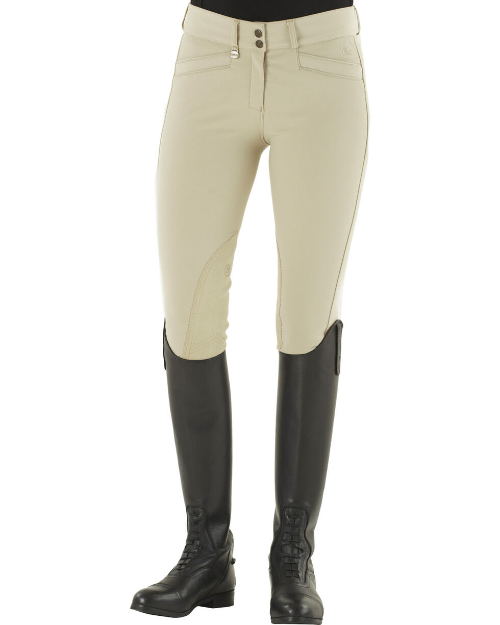 Ovation Celebrity Slimming Knee Patch DX Breeches, Tan, hi-res