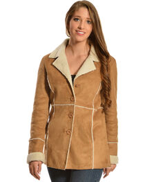 Red Ranch Faux Suede and Sherpa Long Jacket, , hi-res