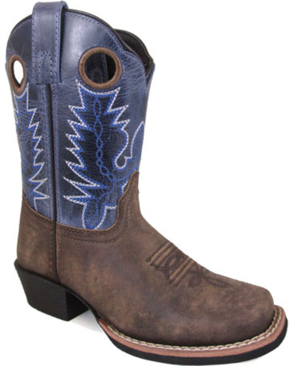 Smoky Mountain Girls' Brown Mesa Distressed Leather Boots - Square Toe , Brown, hi-res