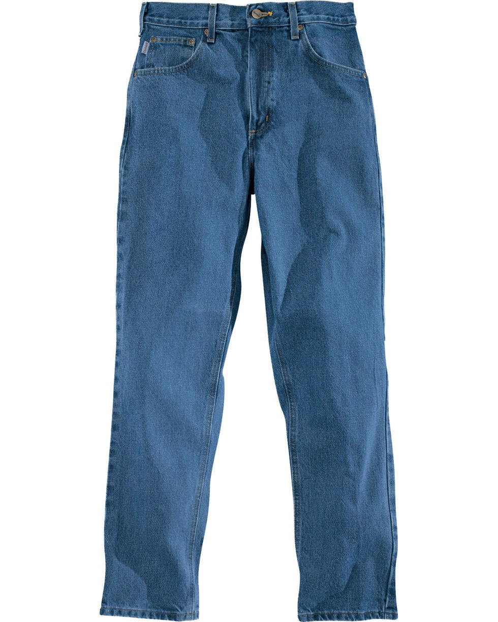 Carhartt Traditional Fit Five Pocket Tapered Leg Work Jeans, Stonewash, hi-res