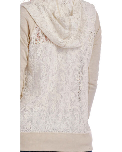 Panhandle Women's Lace Pullover Hoodie, Tan, hi-res