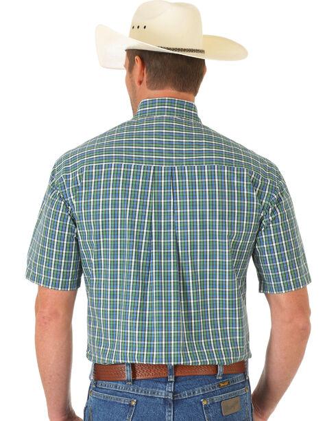 Wrangler George Strait Light Green and Blue Plaid Short Sleeve Shirt, Multi, hi-res