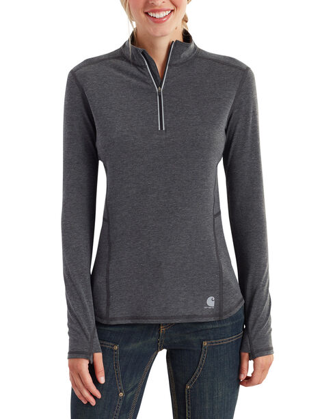 Carhartt Women's Force Ferndale Quarter Zip Pullover , Black, hi-res