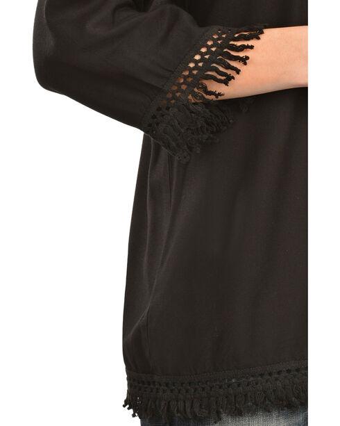 Red Ranch Women's Challis Embroidered Fringe Top, Black, hi-res