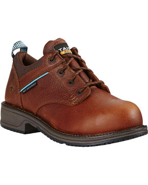 Ariat Women's Oxford Comp Toe Work Shoes, Brown, hi-res