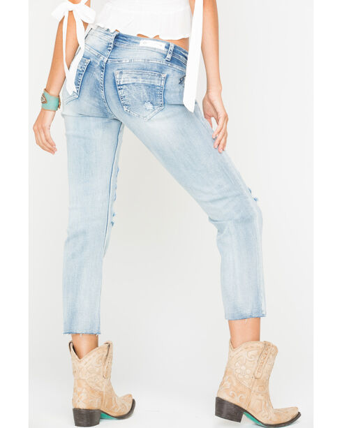 Grace in LA Women's Indigo Embroidered Boyfriend Jeans - Straight Leg , Indigo, hi-res