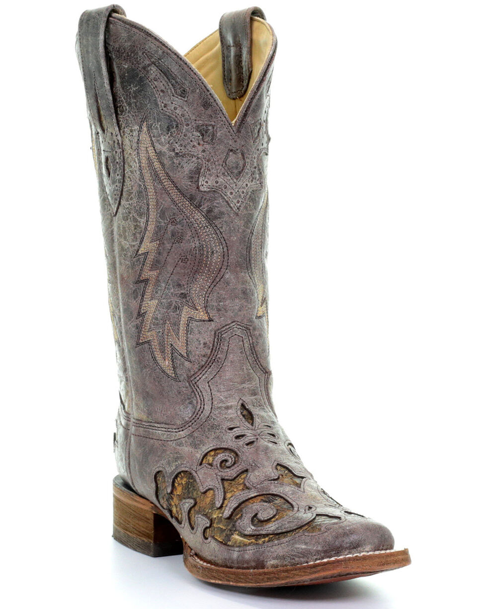 Corral Women's Brown Sand Snake Inlay Boots - Square Toe , Brown, hi-res