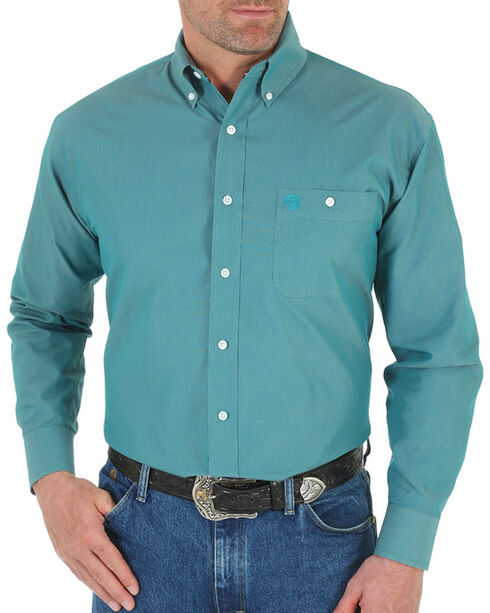 Wrangler Men's George Strait Button Down Long Sleeve Shirt, Turquoise, hi-res