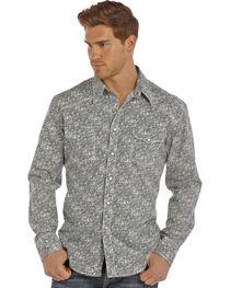 Rock & Roll Cowboy Men's Navy Crinkle Poplin Paisley Print Shirt , , hi-res