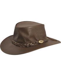 Jacaru Kangaroo Leather Outback Hat, Brown, hi-res